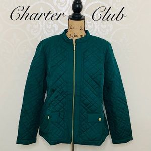CHARTER CLUB GREEN QUILTED JACKET SIZE LARGE